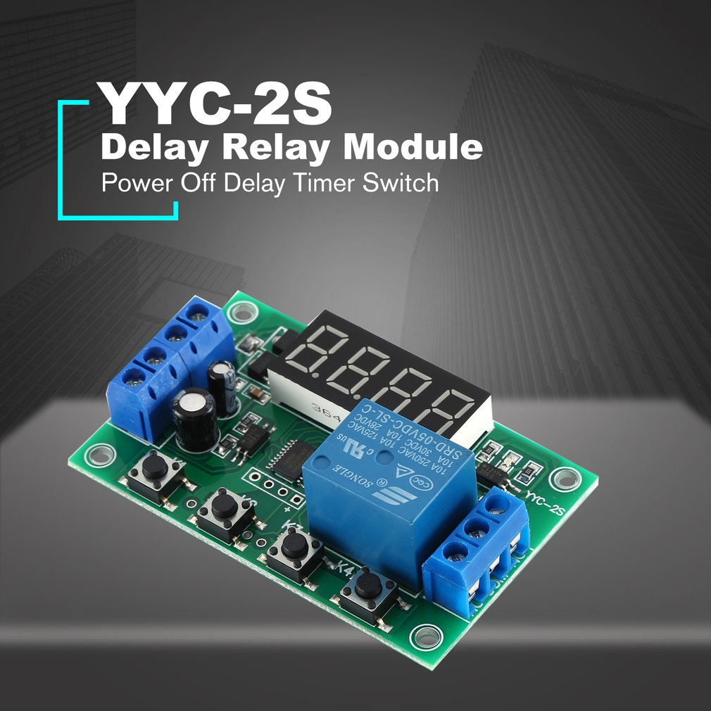 DC 5V 5A Adjustable LED Display Delay Relay Module Power Off Delay Timer Control Switch Board PCB YYC-2S