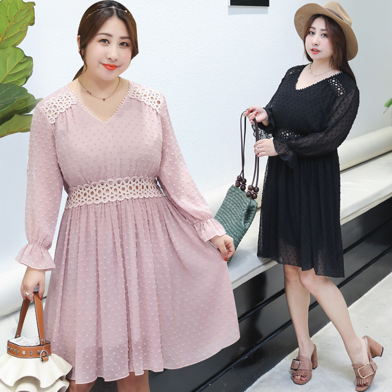 2019 Autumn Clothing New Style Manufacturers Direct Supply A Generation Of Fat Plus-sized Large Size Sweet Chiffon Full Body Dre