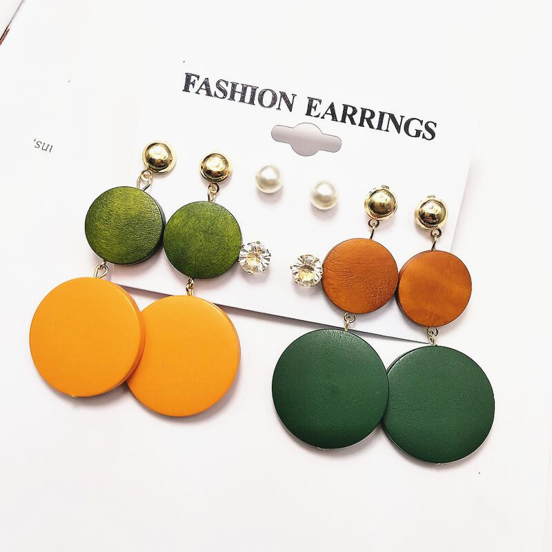 Vintage Korean Big Earrings Fashion Jewelry Wooden Round Earrings Set Female Gift Party Dangle Drop Statement Earrings For Women