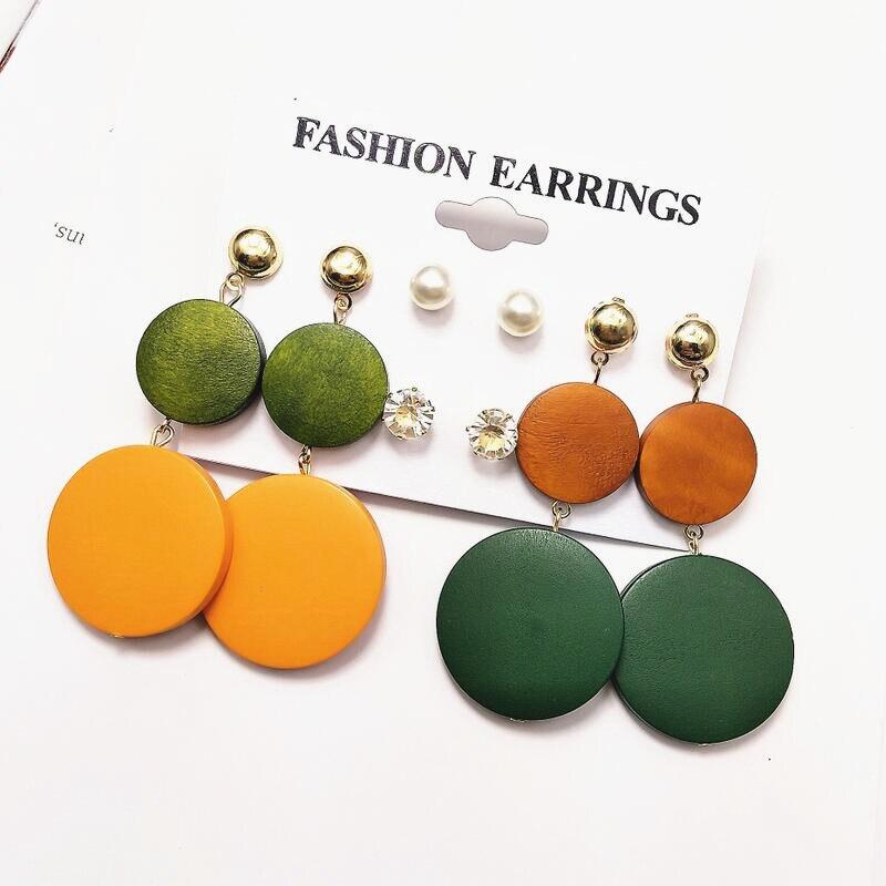 Vintage Korean Big Earrings Fashion Jewelry Wooden Round Earrings Set Female Gift Party Dangle Drop Statement Earrings For Women