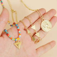 Ant Angel Boutique Jewelry Necklace Sets for Women Summer Beach Layered Weaving Color Beaded Metal Flower Shell Pendant