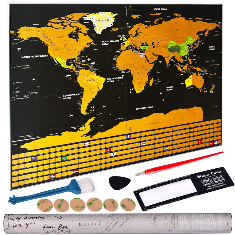Scratch The World Travel Map. Flags Of All Countries. Gift Packaging For Travelers. Premium Personality Wall Sticker Poster Map.