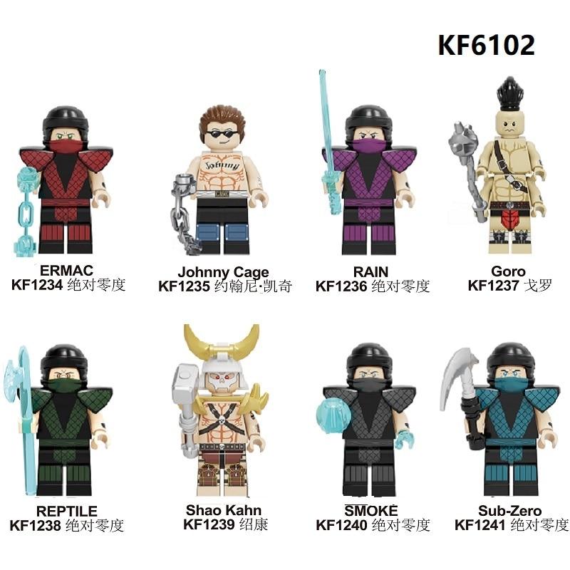 KF6102 Building Blocks Mortal Kombat Sub-Zero Johnny Cage Goro Shao Kahn Kang Lao Jax Liu Kang Figures Bricks Toys For Children