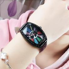 Hot Sale Watch Color Number Womans Wine Barrel Black 40MM Diamond Leather Strap Pin Buckle Quartz Woman