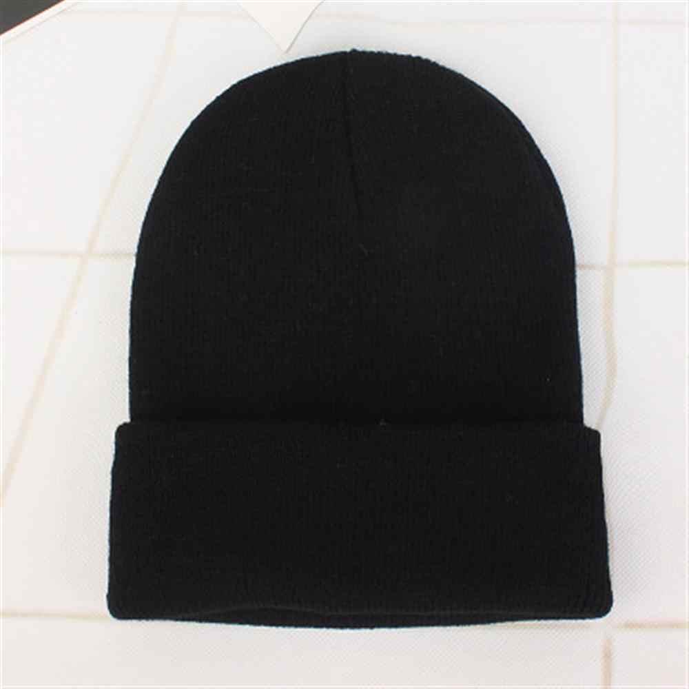 หมวกฤดูหนาวสำหรับผู้หญิงใหม่ Beanies ถักของแข็งน่ารักหมวกหญิงฤดูใบไม้ร่วงหญิงหมวกอุ่น Bonnet สุภาพสตรี Casual CAP