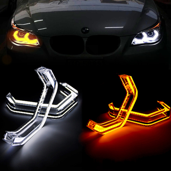 4Pcs M4 Style LED Angel Eyes Halo Rings Car Light Running Lamp DRL For BMW 6 7 Series E63 E64 F01 F02 F03 F04 M6 F06 F12 F13 2pcs 6000k led angel eye bulb head light lamp car headlight lights accessories fit for bmw e39 e53 e64 1 5 6 7 series x3
