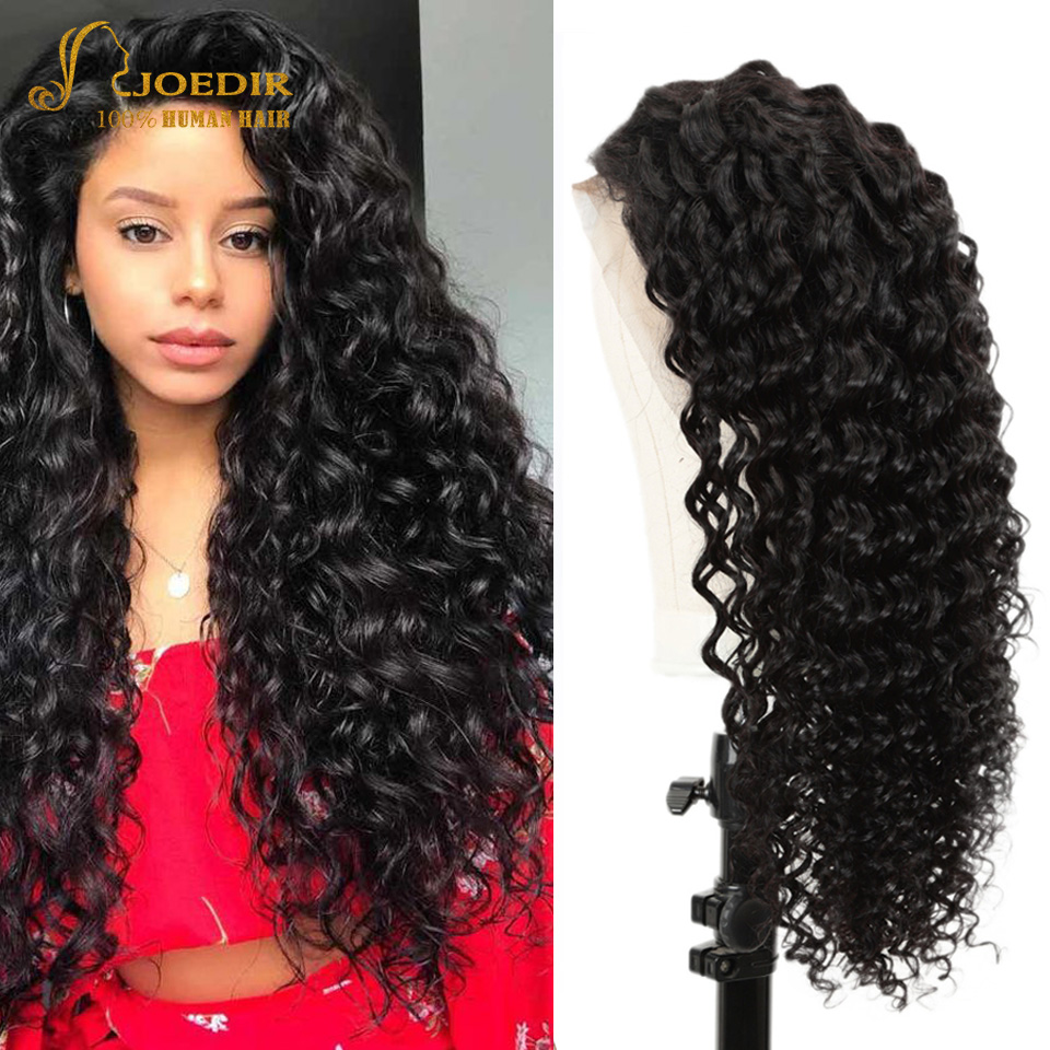 Joedir 30 Inches 13x4 Lace Front Human Hair Wigs Brazilian Deep Wave Lace Front Wig Pre Plucked With Baby Hair 250% Density