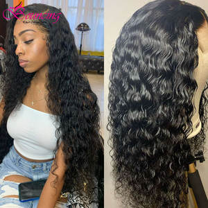 Bouncing Wigs Closure Human-Hair-Wigs Lace Curly Kinky Natural-Color Brazilian 4x4 150