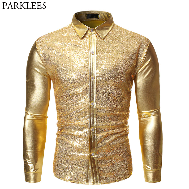 Gold Shiny Night Club Wear Mens Dress Shirts Metallic Sequin Paillette Glitter Chemise Party Disco Dance Prom Bling Shirt Male
