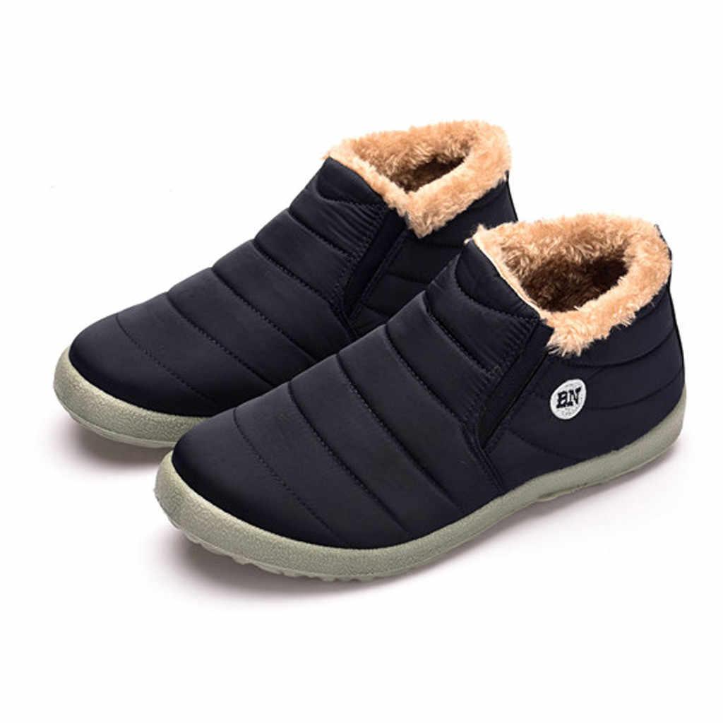 Mode männer Plus Samt Ankle Booties Warm Halten Outdoor Sports Schuhe frau Plüsch Sohle Wasserdicht Wärmer Wandern Schnee Stiefel