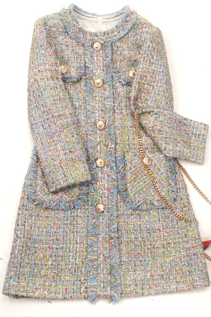 Autumn 2019 Waist Tweed Dress Long Tassel Skirt Long Sleeve Jacket  Outwear  Round Collar Temperament Women Clothing
