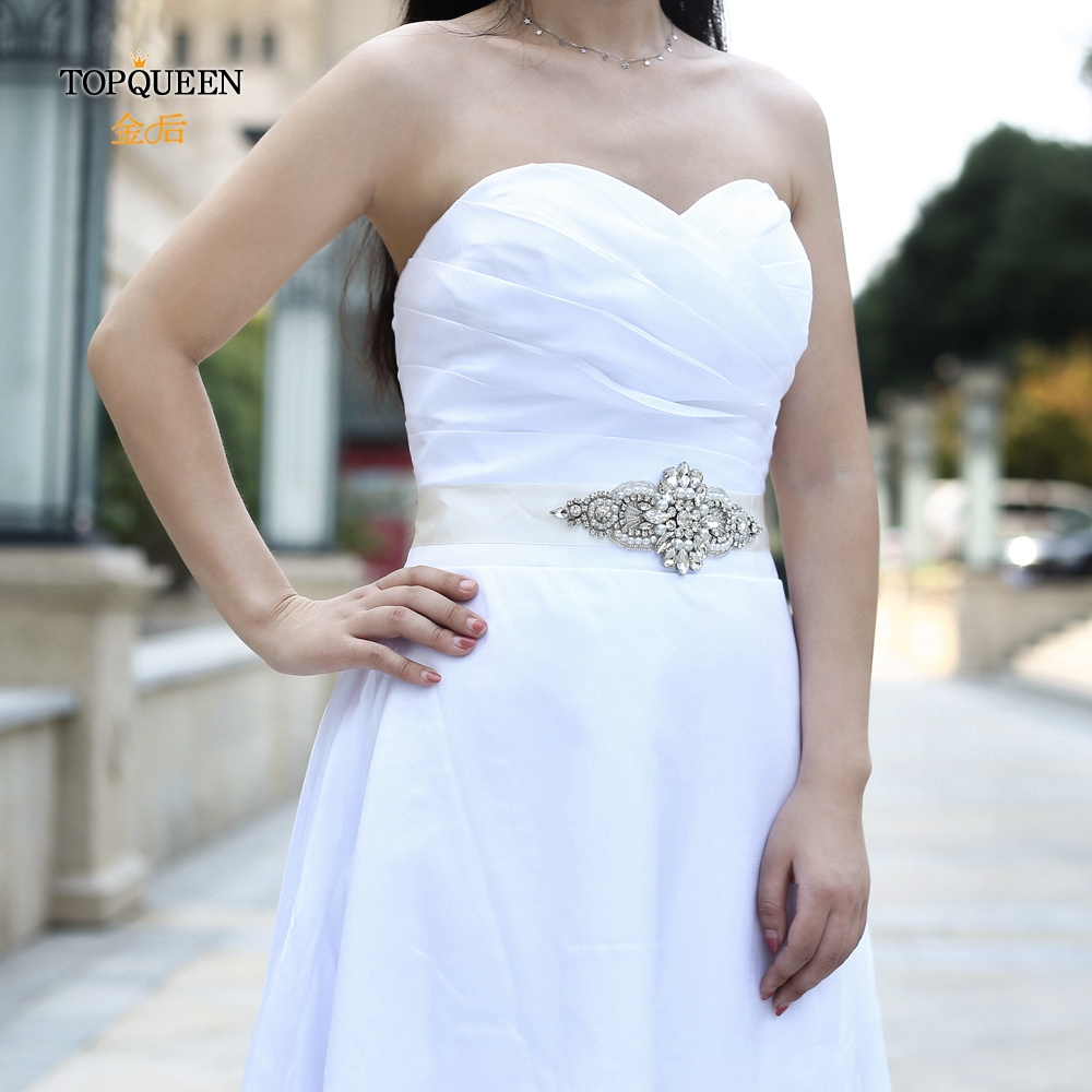 TOPQUEEN S05B Wedding Belts Wedding Sashes Rhinestones Pearls Bridal Belts Sash Pearls Fast Shipping Silver Belt For Girls