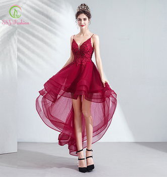 SSYFashion New Burgundy Cocktail Dresses V-neck Short Front Long Back Lae Appliques Party Formal Gowns Special Occasion Dresses