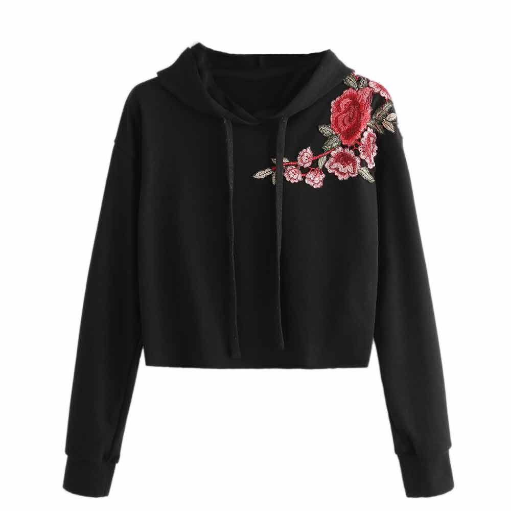JAYCOSIN Fashion Women Casual Embroidery Flower Hoodie Sweatshirt Unique Elegant Comfortable Solid Chic Pullover Tops