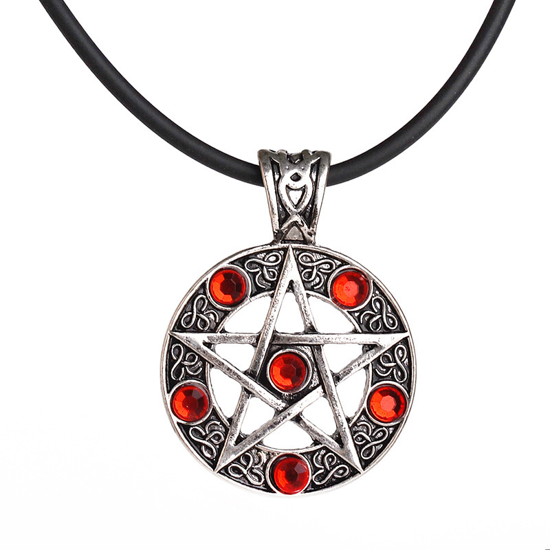 Satan Logo Five-Pointed Star Diamond Fashion Jewelry Pendant Necklaces For Men Women Gifts Necklaces
