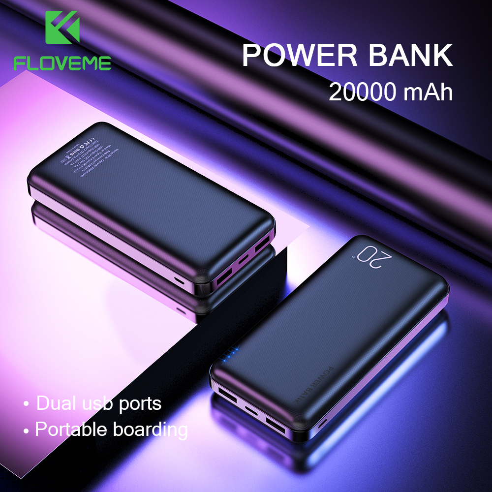 FLOVEME 20000mAh Power Bank For Xiaomi Mi iPhone Powerbank 20000 mAh Dual USB Portable External Battery Charger Poverbank image