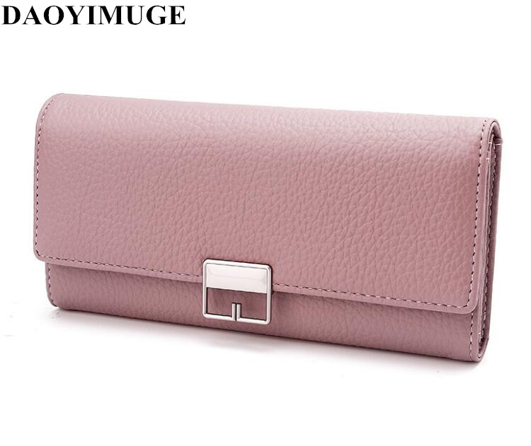 New lady leather purse clasp with bag long PU lady purse|Wallets| |  - title=