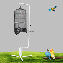 Metal Bird House with Adjustable Height Sling Rack Dome Parrot Cage Hanging Shells Wild Bird House Outdoor Hanging Decoration(China)