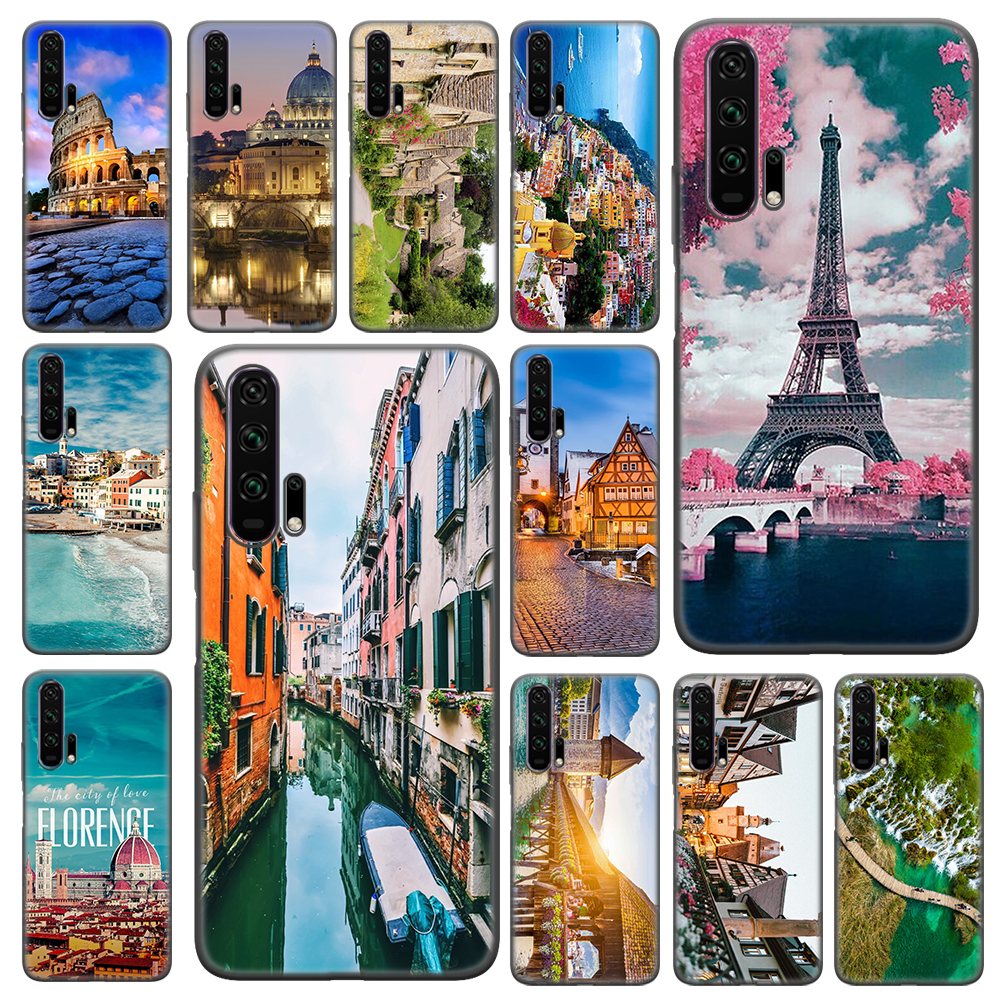 travel italy France London World Places Soft Case For Huawei Honor 10 20 Lite 8X 9X 20 30 Pro Play 3e Huaiwe Y5 Y6 Y7 Y9 Cover image