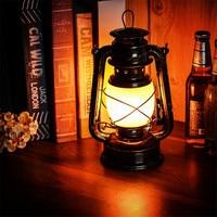 Thrisdar Iron Vintage Kerosene Lantern Table Night Light Creative Bar Cafe Restuarant Pub Gazebo Bedroom Flame Effect Oil Lamp