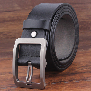 Image 3 - cow genuine leather men summer belt adjustable black buckle belt jeans vintage male XXl soft strap plus size130 150 140