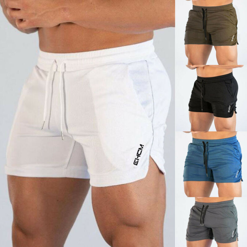 Solid Mens Gym Training Shorts Workout Sports Casual Clothing Fitness Running Shorts Popular Men Elastic Waist Pocket Shorts