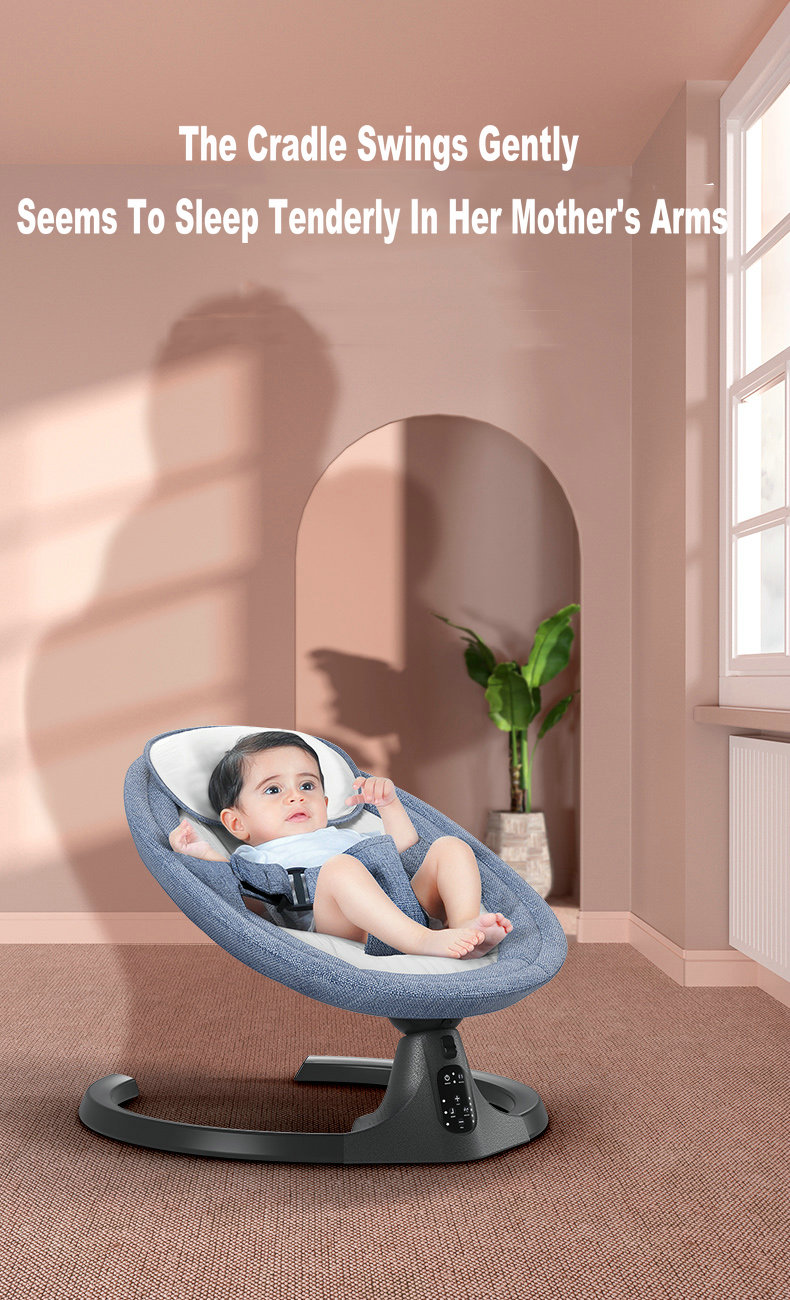 H68bfe1143719401cabd01ba1d3886c7cQ Baby Swing Multifunctional Aluminum Alloy Baby Rocking Chair Electric Baby Cradle With Remote Control Cradle Rocking Chair