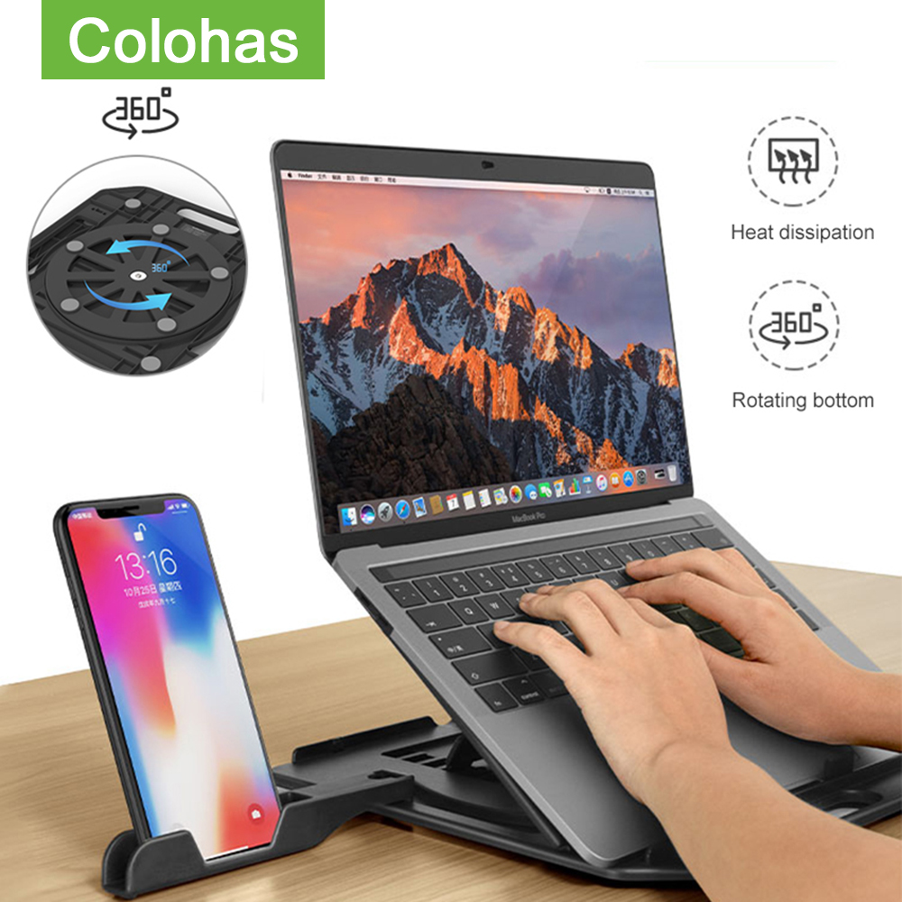 Height Adjustment Laptop Stand For Macbook Pro Notebook Support 360 Degree Rotating Bottom Computer Stand Riser Cooling Pad