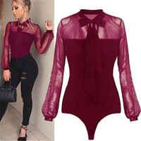 Body femme justaucorps extensible Body haut à manches longues Body hauts noir chemise rouge combinaison femmes vêtements