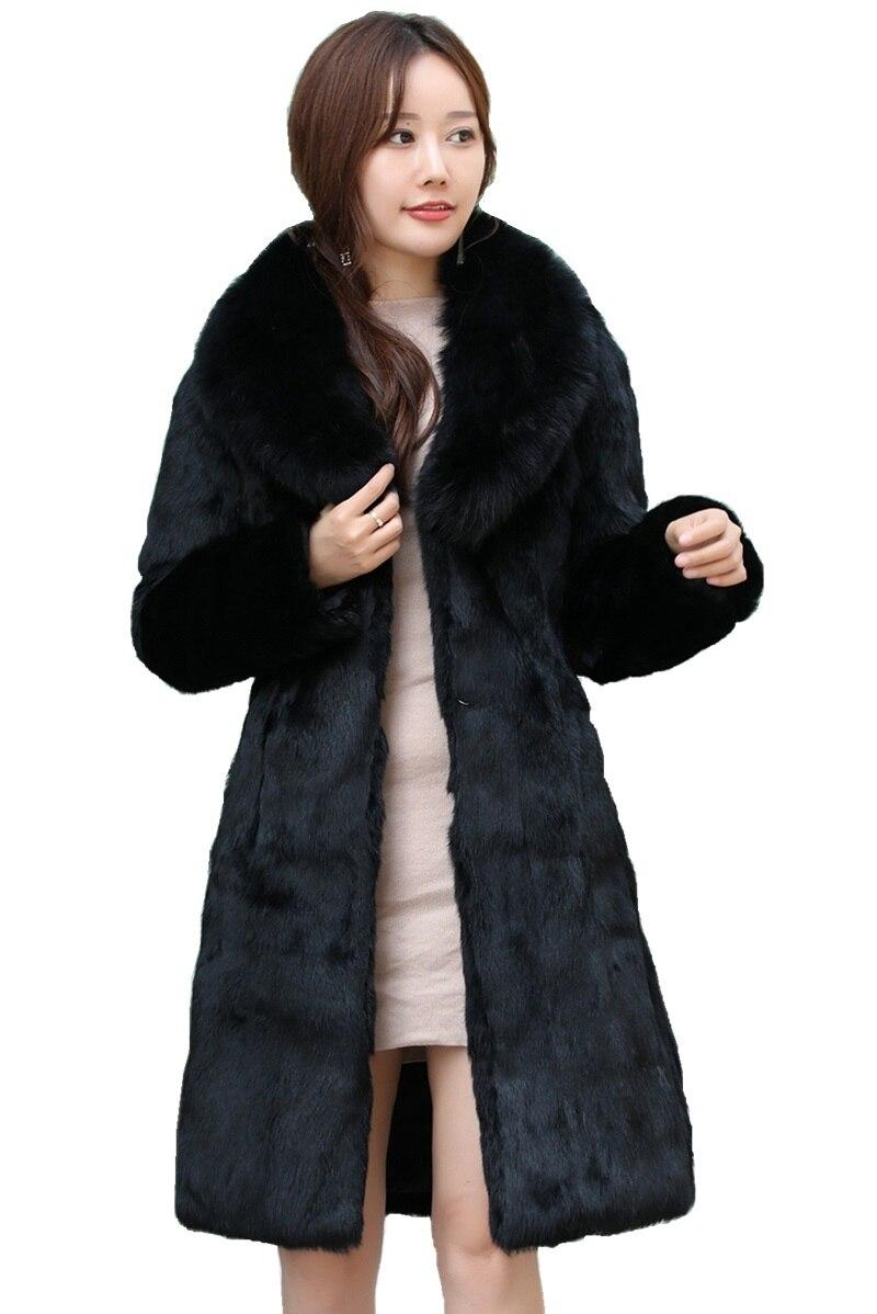 Luxury Long Customize Plus Size Factory Real Price Genuine Rabbit Real Fur Coat Women Fur Jacket New Winte