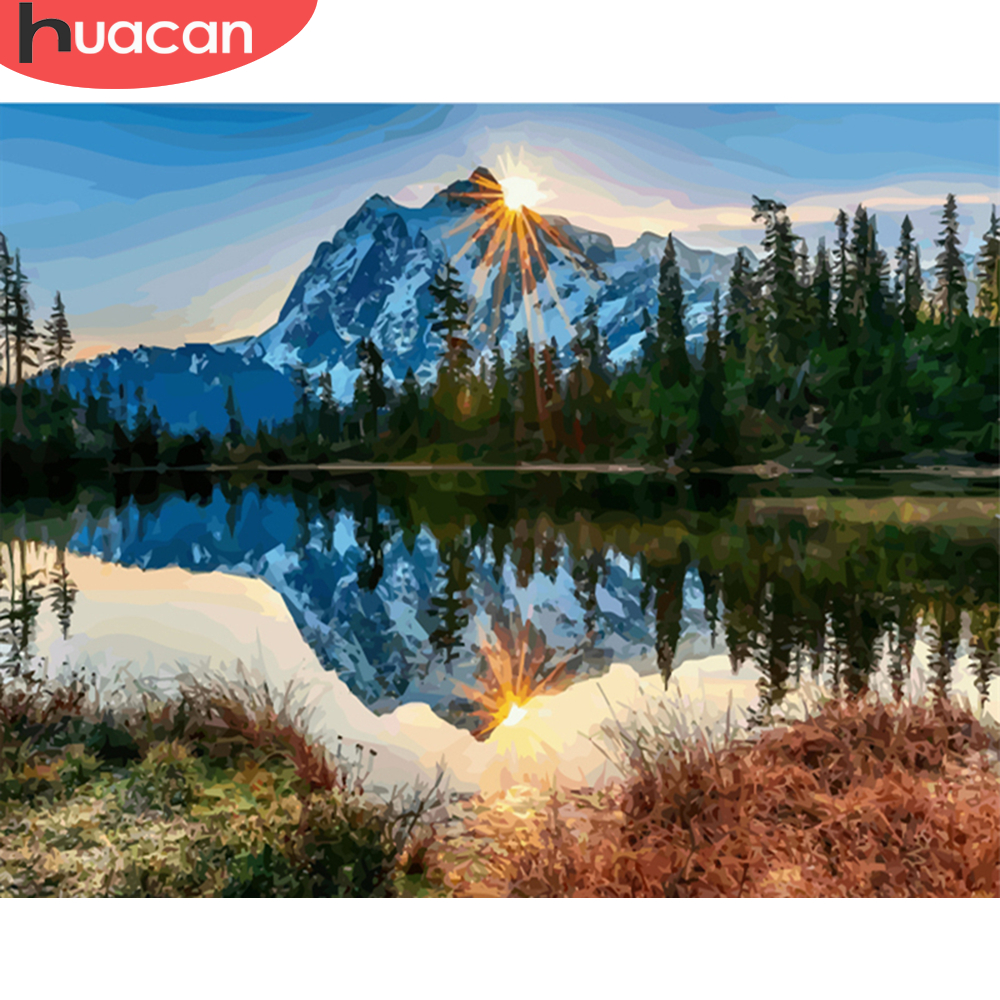 HUACAN Pictures By Numbers Mountain Landscape Oil Painting Lake Scenery Kits Drawing Canvas HandPainted DIY Home Decoration