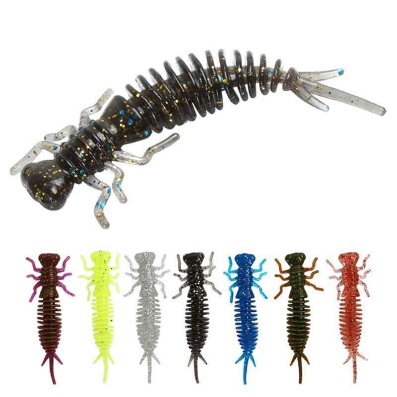 10 יח'\סט 75mm 3g פיצוץ מודלים Hexapod דיג פיתוי חרקים זחל רך פיתיון מלאכותי פיתיון 8 צבעים