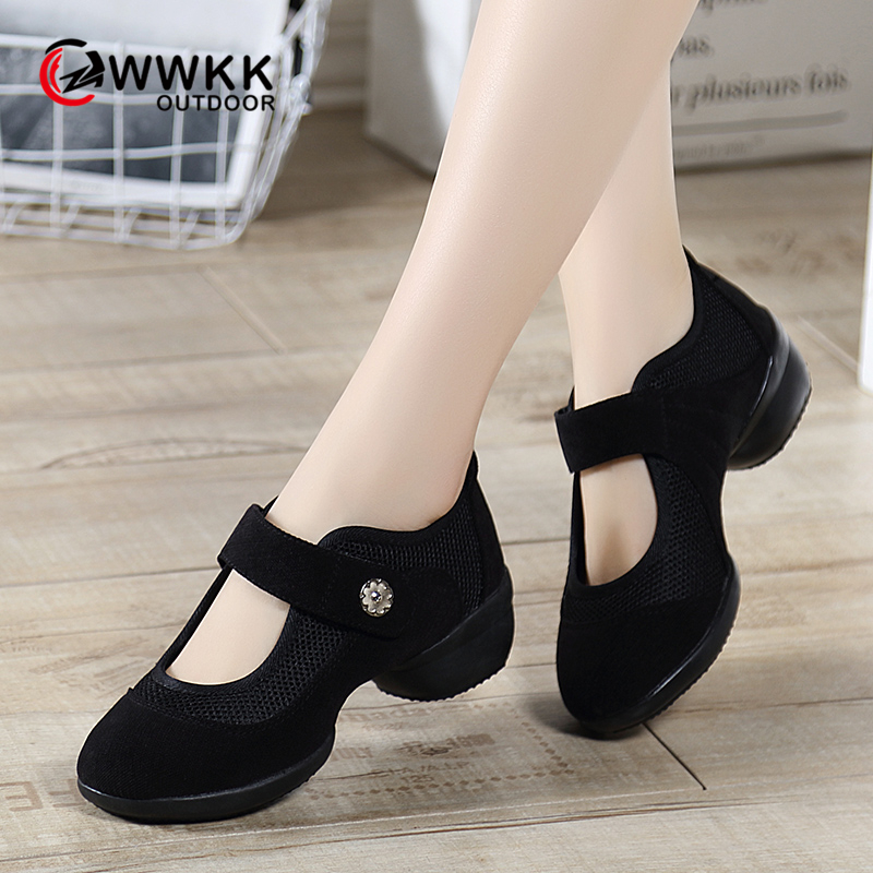 WWKK Dancing Shoes For Women Sports Modern Dance Jazz Shoes Soft Outsole Breath Platform Dance Shoes Female Practice Sneakers
