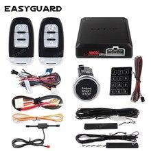 Easyguard kit de alarme de carro pke, kit com controle remoto, botão de iniciar, código de rolamento, senha de toque, alarme de segurança de entrada sem chave