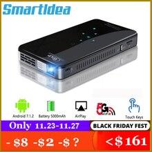 SmartIdea X2 Android7.1 Mini Projector 200 ลูเมน 5G WIFI บลูทูธแบตเตอรี่ 3 ชั่วโมงปุ่มสัมผัส HDMI 1080P Beamer