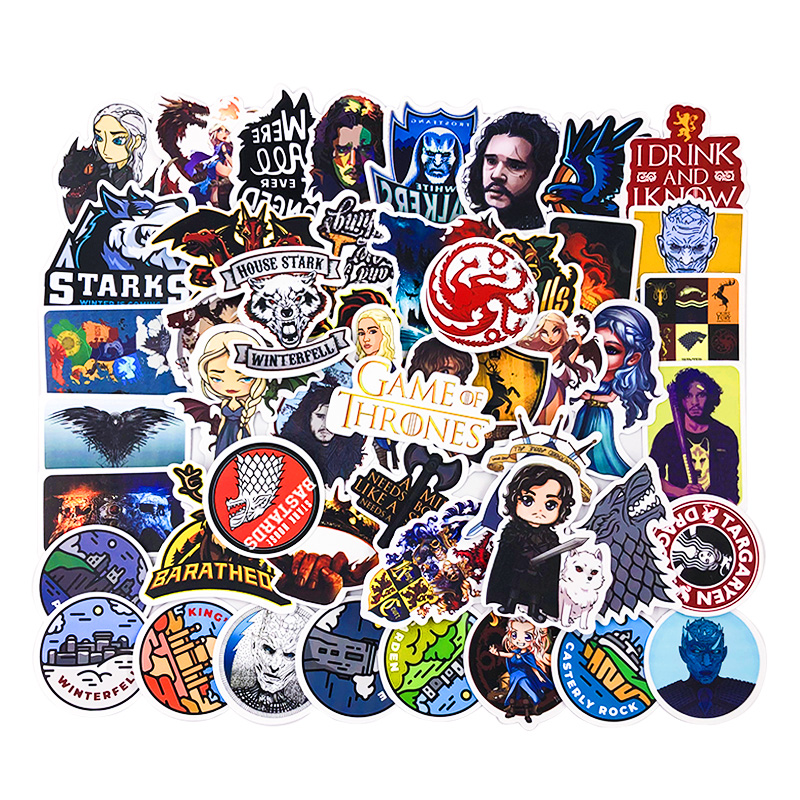 50pcs Cartoon Stickers Game Of Thrones Stickers War TV Series For Luggage Car Notebook Laptop Decal Fridge Skateboard Sticker F5