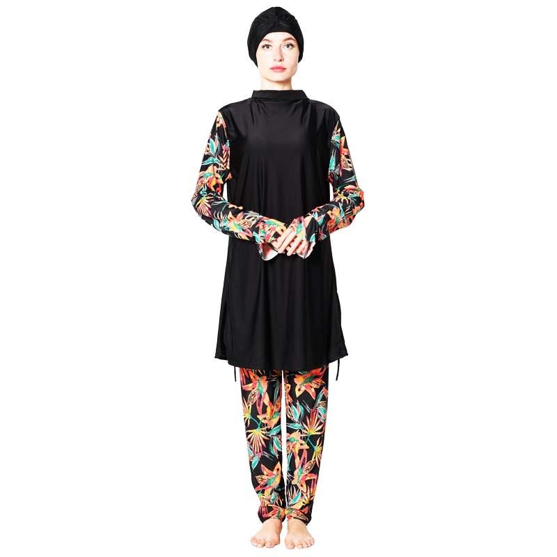 Shehang señoras musulmanes traje de baño Islam conservador cobertura completa traje de baño pequeño diseño floral Surf playa usando traje de baño musulmán