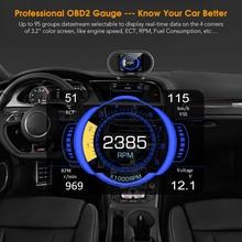 KONNWEI KW206 OBD2 스캐너 자동차 디지털 온보드 컴퓨터 LCD 디스플레이 연료 소비 수온 게이지 속도계 HUD