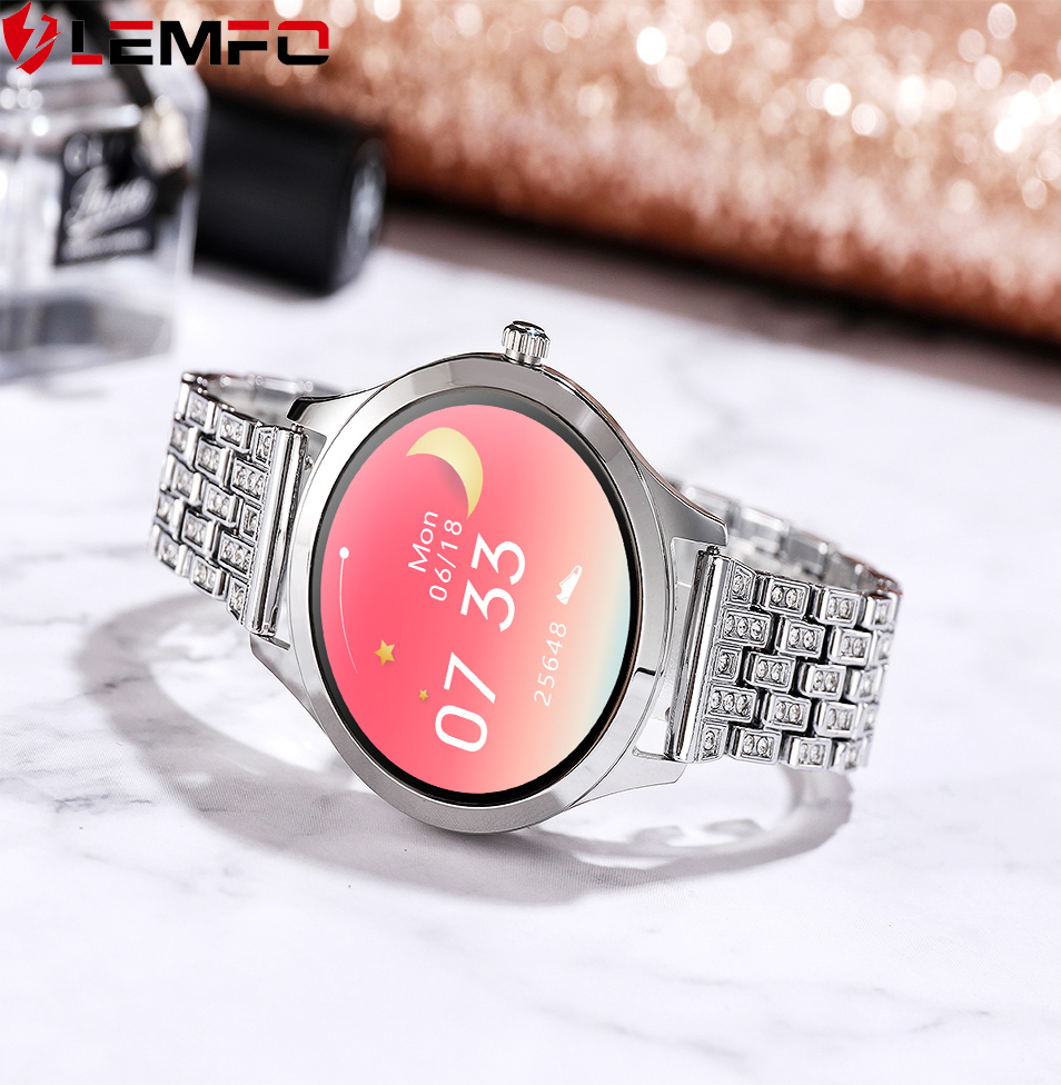 LEMFO 1 09 Inch Smart Watch Women Music Control Editable Watch Face Message Incoming Reminder Replaceable Stainless Steel Strap