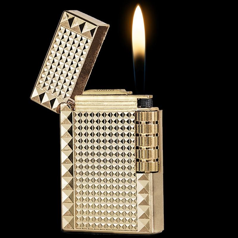 Kerosene Cigarette Lighter Refillable Oil Metal Smooth Grinding Wheel Lighters Gift For Man Without Fuel GL008
