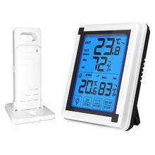WINOMO Household Hygrometer LCD Touch Screen Electronic Hygrometer Digital Display Temperature Meter-Without Battery