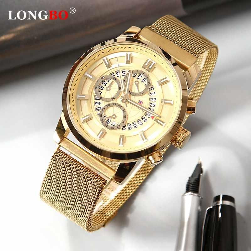 LONGBO 2020 חדש שעון גברים אופנה עסקים שעונים גברים של מזדמן עמיד למים קוורץ שעוני יד כחול פלדת שעון Relogio Masculino