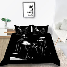 Thumbedding Drum Bedding Set Single Black Rock Style Duvet Cover Queen Soft King Twin Full Single Double Unique Design Bed Set(China)