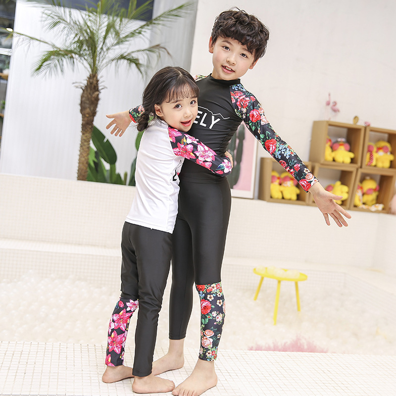 CHILDREN'S Swimwear BOY'S Girls Split Type Long Sleeve Trousers Sun Protection Clothing Quick-Dry Bathing Suit