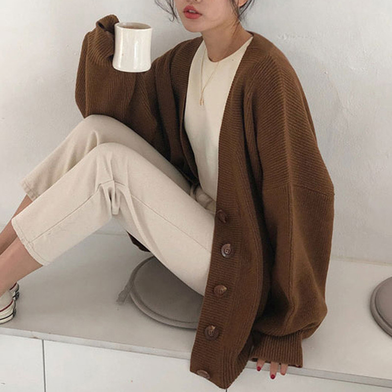 2019 Autumn New Sweater Women's Single-breasted Long-sleeved V-neck Solid Color Warm Cardigan Loose Casual Sweater