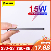 Baseus-15W Qi 무선 충전기 아이폰 12 11 프로 XS 맥스 XR 샤오미 삼성용, 울트라 슬림 인덕션 고속 무선 충전 패드