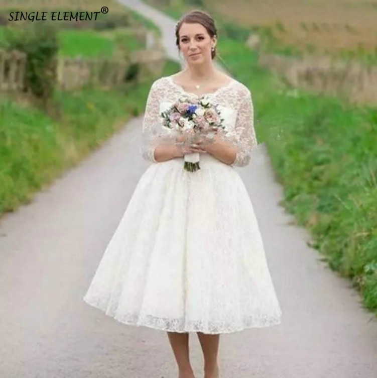 SINGLE ELEMENT Romantic Custom Made Tea Length Long Sleeve Bondoir Tulle Vintange Wedding Dresses