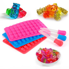DIY Multi-use Silicone Cake Tools Mold 1 Set 50 Cavity Silicone Gummy Bear Chocolate Mold Candy Maker Ice Tray Jelly Moulds(China)