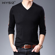 HIYSIZ Brand Wool New Fashion Arrival Casual V-Neck Long Sleeve Autumn Winter Streetwear Solid Warm Men Top Pullover SW020