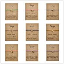 Message Card Fashion Jewelry 12 Constellation Zodiac Scorpio Rope Chain Bracelet Bangles For Women Birthday Gift